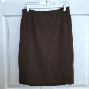 Giorgio Armani Brown Wool Pencil Skirt Size 12